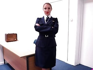 Big Tittied Cougar Tales Off Sexy Uniform And Masturbates Humid...