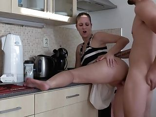 Nice Mummy With Nice Booty-fucked Rear End Hard In Kitchen