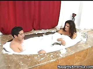 Perverted Black Haired Housewife Teri Weigel Takes A Hot Bath With...