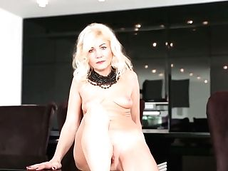 Ash-blonde Cougar Sylvie Is Playing With Her Spread Clean-shaved...