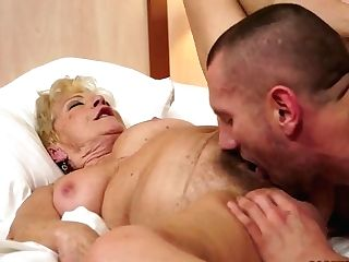 Blonde Granny Having Fuck-a-thon With Pretty Stud